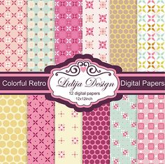 12 Colorful Retro Digital Papers. Great for invitations, gift tags, cards, textile, package, scrapbooking, embellishments of invitations, papers guds etc.
