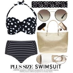 PLUS SIZE SWIMSUIT by noraaaaaaaaa on Polyvore featuring Cactus, Dorothy Perkins, Akira, Jaeger, Prada, Nude by Nature, beach, striped, Dotted and stylishcurves