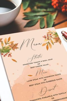 This beautiful Autumn Wedding Menu Printable wedding invitations Stationery Templates design features fall leaves in orange, brown, peach, and blush pink along with green botany over a peach watercolor background. It is a perfect style of fall color scheme. These downloadable files are a full wedding invitation suite, this set including invites, a detail card, rsvp card, thank you card, favor tag, belly band, and a menu. Creative Wedding Invitations, Letterpress Wedding Invitations, Printable Wedding Invitations, Elegant Invitations, Wedding Invitation Design, Invitation Suite, Invites, Simple Wedding Menu, Rustic Wedding Menu