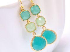 Mint Earrings Green Earrings Aqua Earrings Turquoise by mlejewelry