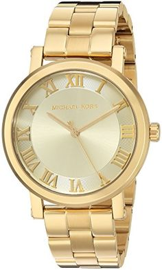 df2a5a26fe9 Michael Kors Women s Norie Gold-Tone Watch - The Michael Kors Norie watch  effortlessly pairs a classic two-tone three-link bracelet and case with a  modern ...