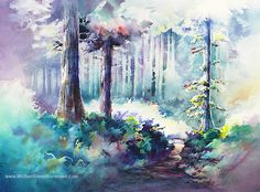 "Watercolor Tree Paintings. ""Pathway to NeahKahnie"" by Michael David Sorensen. Trees.  Negative Painting. Landscape Watercolors..."