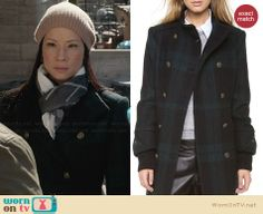 Joan's green plaid coat on Elementary.  Outfit Details: http://wornontv.net/30520/ #Elementary