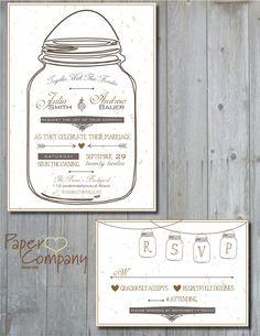 MASON JAR LOVE Custom Wedding Save the Date/Invitation/rsvp/Response Card/Table Number/Menu/Thank You/- You Print - diy