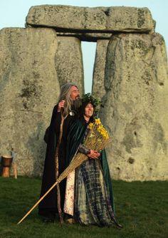 Druid ceremony, Spring Equinox, Stonehenge.