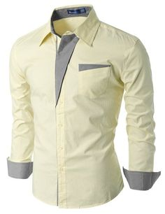 Doublju Mens Slim Fit Cotton Flannel Long Sleeve Button Down Shirts Slim Fit Dress Shirts, Fitted Dress Shirts, Shirt Dress, Flannel Dress, Formal Shirts, Casual Shirts, Moda Men, Mens Designer Shirts, African Shirts