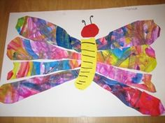 Have a sheet drawn completely full and then have wings cut out . Eric Carle, Butterfly Crafts, Butterfly Art, Hungry Caterpillar Craft, Classroom Art Projects, Classroom Decor, Newspaper Art, Art Lessons Elementary, Spring Crafts