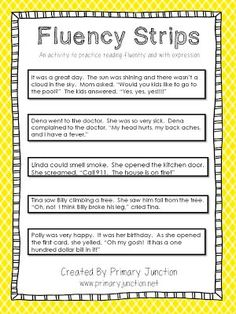 Fluency Strips - an activity to teach reading fluently and with expression - Freebie: