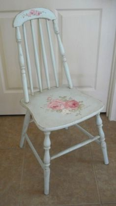 Antique Cottage Handpainted Roses Shabby Chic Cottage Chair