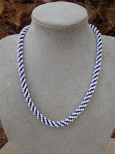 Purple & White Spiral Beaded Kumihimo Necklace by Kumibytim, $30.00