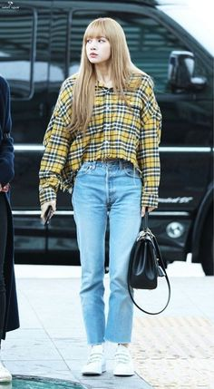 Blackpink Lisa Fashion - Official Korean FashionYou can find Kpop fashion and more on our website. Blackpink Outfits, Kpop Fashion Outfits, Blackpink Fashion, Korean Outfits, Asian Fashion, Casual Outfits, Fashion Looks, Fashion Idol, Fashion Tape