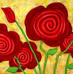 Modern Folk Art ROSES Original ABSTRACT by johnblakefolkartist Folk Art Flowers, Abstract Flowers, Flower Art, John Blake, Diy Postcard, Watercolor Paintings For Beginners, Rock Painting Patterns, Art Deco Posters, Arte Floral