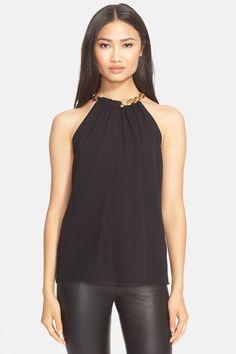 'Aubrey' Chain Collar Silk Sleeveless Top by Diane von Furstenberg on @nordstrom_rack