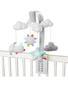 Moonlight & Melodies Projection Mobile Clouds | Skiphop.com Our baby mobile has a soft color palette and sleek look to coordinate with the modern nursery. While stars are projected on the ceiling, it lulls little one to sleep with gently blinking leaves along with eight total lullabies and nature sounds. Just use the light and sound combination that's right for your baby. A remote control allows you to restart the mobile after 20 minutes with the touch of a button, even from outside the…
