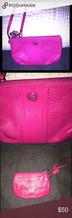 NEW Coach Wristlet - Pink You are looking at a beautiful basically NEW Coach Wristlet, that has been used only 1 time! It's a gorgeous Pink color and has a strap that can be disconnected or used to connect to your belt loop or other area for hooking to. It's got an opening which would easily fit a Galaxy or IPhone 6 Plus, as well as money, cards, etc. This is a great addition to any purse, Wristlet, wallet collection! If you have any questions at all, please feel free to ask! Thanks! 😎…