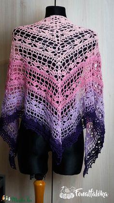 Rózsaszín-lila horgolt kendő  (Fonalfaloka) - Meska.hu Crochet Top, Tops, Women, Fashion, Moda, Women's, La Mode, Shell Tops, Fasion