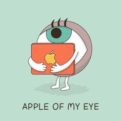 """Our hero of the day is """"Apple of my eye"""", which means """"the person who you love most."""" Image by: Dings & Doodles-Keren Rosen קרן רוזן Cute Puns, Funny Puns, Funny Cartoons, Stupid Funny Memes, Hilarious, Doodle Keren, Cute Romantic Quotes, Idiomatic Expressions, Visual Puns"""
