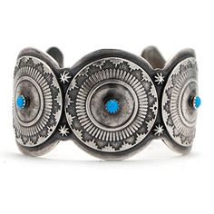 Sterling Silver and Turquoise Triple Disc Cuff at Maverick Western Wear