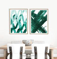 Abstract Wall Art Print Green Painting Emerald Teal Decor