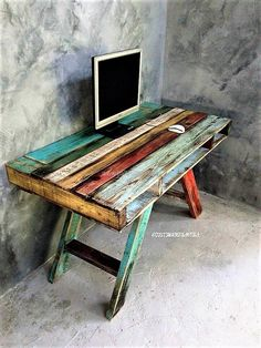 Repurposed Wooden Pallet Projects repurposed-wood-pallet-table The post Repurposed Wooden Pallet Projects appeared first on Pallet Diy. Wood Pallet Tables, Wooden Pallet Projects, Wooden Pallet Furniture, Pallet Crafts, Wooden Pallets, Wooden Diy, Painted Furniture, Pallet Wood, Pallet Bench