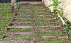 durmientes de quebracho Stepping Stones, Pergola, Deck, Backyard, Building, Wood, Outdoor Decor, House, Home Decor