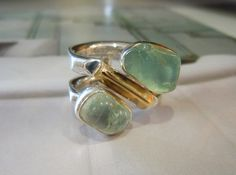 Aqua colored Quartz, Sterling Silver, 14K Gold & Double Band Ring - Two Tone Jewelry