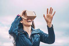 Girl with a virtual reality simulator