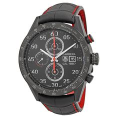 Carrera 1887 Chronograph Automatic Black Dial Black Leather Men's Watch