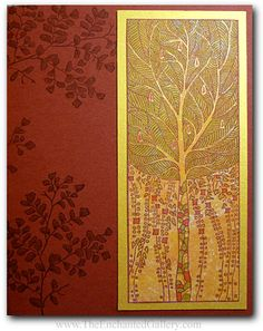 Art Nouveau tree and maiden hair fern deco pattern rubber stamp greeting card