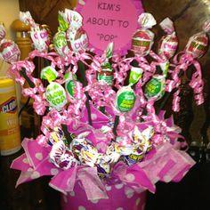 Blow pop baby shower arrangement