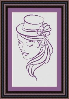 point de croix femme au chapeau - cross stitch woman with a hat 1