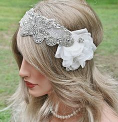 SALE - Rhinestone Bridal Headband, Bridal Hair Accessory, Wedding Headpiece, Ribbon, Floral, Rhinestone, 1920s Glam, Great Gatsby