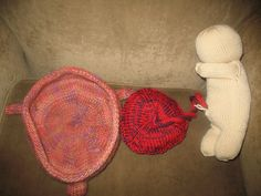 Knitted fetus, placenta, and uterus