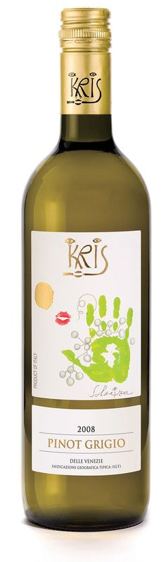 Kris Wine 2010 Pinot Grigio ~ Winemaker's Notes: Pale yellow in color with brilliant greenish reflections, enticing aromas of acacia flowers, citrus, tangerine, and hints of apricots and almonds. Kris is lean and refreshing on the palate with hints of blossom and honey.