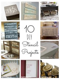 10 DIY Stencil Projects by: theDIYvillage.com - #diy #stencil I love the stenciled stools...for the kitchen.