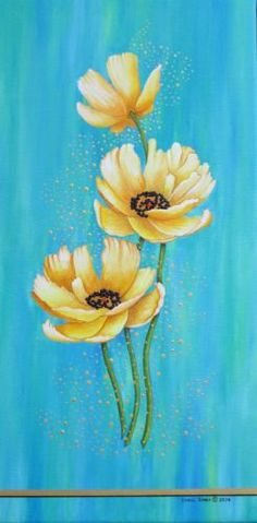 Yellow Poppies With Pixie Dust-Original Painting by the artist. NEW! With Texture...and metallic gold paint for the pixie dust.