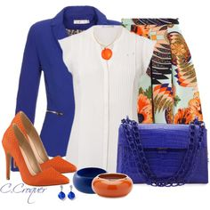 A fashion look from March 2014 featuring shirts & blouses, blue blazer and floral skirt. Browse and shop related looks.