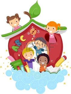 Apple School - Illustration of Kids Playing in an. Apple School, Apple Activities, School Frame, School Decorations, Cartoon Kids, Cute Illustration, Happy Kids, Clipart, Classroom Decor