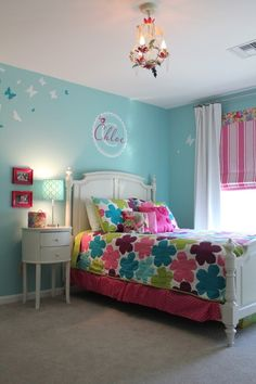 The color is Waterfall by Ben Moore.   I like the layout of bed not too close o window