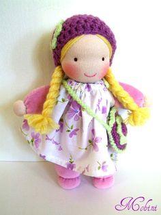 Waldorf doll  purple by Mohinidolls on Etsy, $35.00