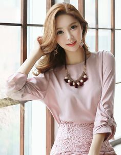 StyleOnme_Ribbon Sleeve Blouse #pink #ribbon #feminine #girly #blouse #koreanfashion #summer #look #elegant #trendy