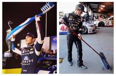 Mad props to @kaseykahne on finding helpful and practical applications for race trophies. #nascar #martinsville