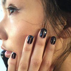 """Negative space nails @marissawebb created by @misspopnails using @opi_products #nyfw #fashionweekonfleek #backstagebeauty"""