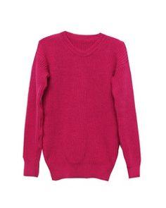 Jerseis Basico Fucsia esta confeccionado en punto de lana de algodón, de color rosa fucsia. Tiene un diseño recto y escote redondo. Mangas largas y terminaciones en patente.Disponible en talla única con equivalencia a talla M.Medidas en centimetroHombro 50cmBusto 90cmLargo 64cm