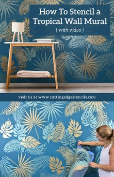 Everything You need to Know to Stencil a Tropical Wall Mural using Cutting Edge Stencils DIY stencil designs Leaf Stencil, Stencil Diy, Stenciling, Damask Stencil, Bird Stencil, Wall Stencil Patterns, Stencil Designs, Stencil Painting On Walls, Faux Painting