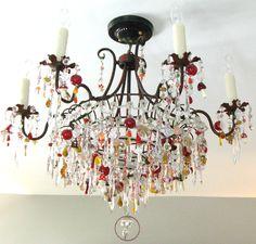 Glass mushroom chandelier