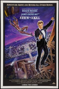 "A View to a Kill (United Artists, 1985). One Sheet (27"" X 41""). Advance. James Bond.  Starring Roger Moore, Christopher Walken, Tanya Roberts, Grace Jones, Patrick Macnee, Lois Maxwell, Desmond Llewelyn, Robert Brown, and Patrick Bauchau. Directed by John Glen. Artwork by Dan Gouzee."
