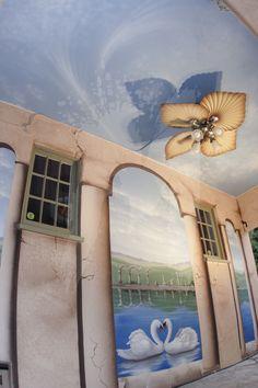 swans in love mural