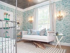 Nursery with wallpaper and life-sized stuffed animal | DailyCandy