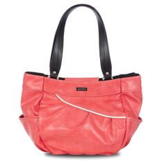 """*Miche Canada* Hot, hotter, HOTTEST! Patty for Demi Bags effectively captures the heat of summer and glows with the happy vibe of the season. Electric coral textured faux leather features chic contrasting white piping and convenient end pockets. Patricia has """"WOW"""" factor, and adds a little fun and adventure to virtually any outfit!"""